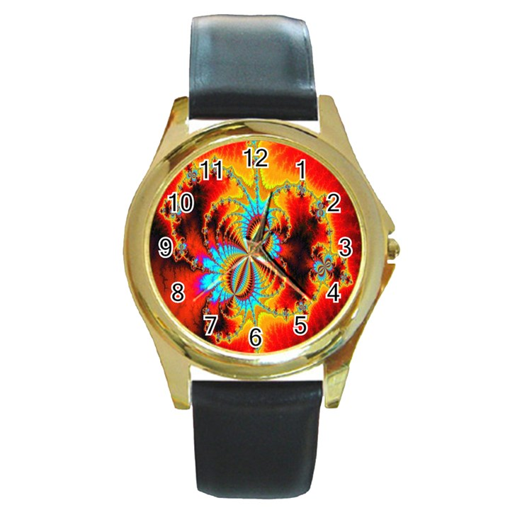 Crazy Mandelbrot Fractal Red Yellow Turquoise Round Gold Metal Watch