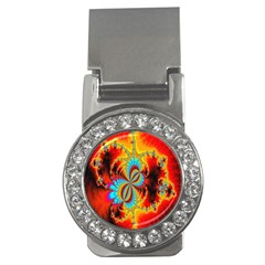 Crazy Mandelbrot Fractal Red Yellow Turquoise Money Clips (CZ)