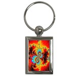 Crazy Mandelbrot Fractal Red Yellow Turquoise Key Chains (Rectangle)  Front
