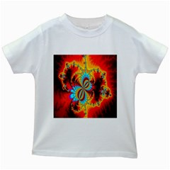 Crazy Mandelbrot Fractal Red Yellow Turquoise Kids White T Shirts