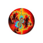 Crazy Mandelbrot Fractal Red Yellow Turquoise Magnet 3  (Round) Front
