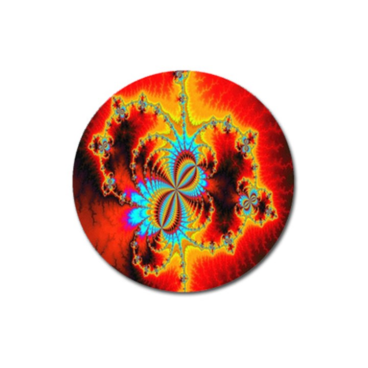 Crazy Mandelbrot Fractal Red Yellow Turquoise Magnet 3  (Round)