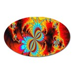 Crazy Mandelbrot Fractal Red Yellow Turquoise Oval Magnet Front