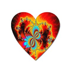 Crazy Mandelbrot Fractal Red Yellow Turquoise Heart Magnet
