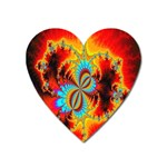 Crazy Mandelbrot Fractal Red Yellow Turquoise Heart Magnet Front