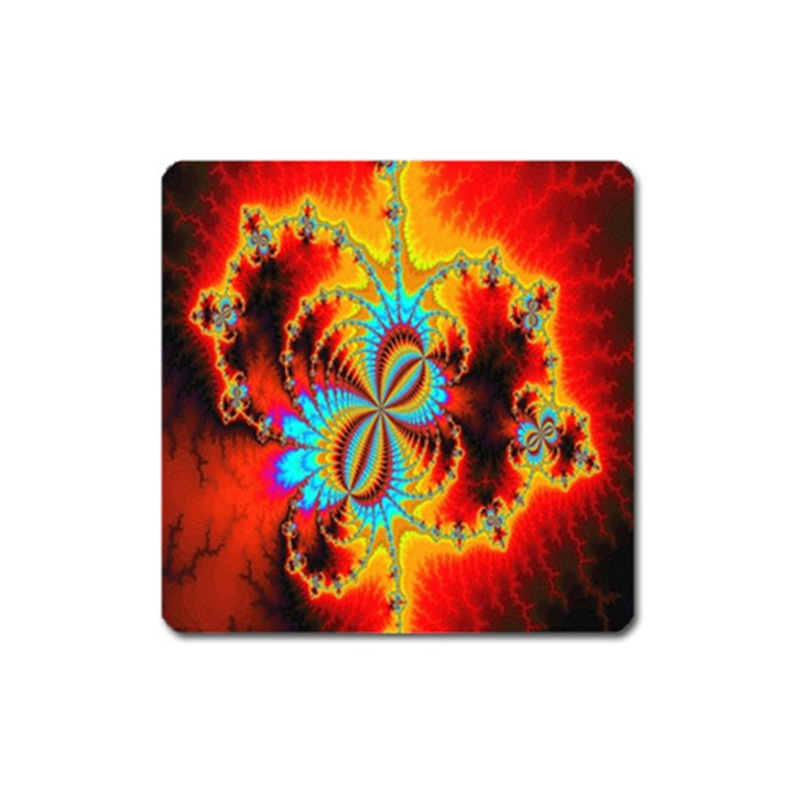 Crazy Mandelbrot Fractal Red Yellow Turquoise Square Magnet