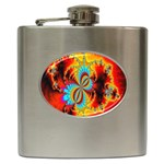 Crazy Mandelbrot Fractal Red Yellow Turquoise Hip Flask (6 oz) Front