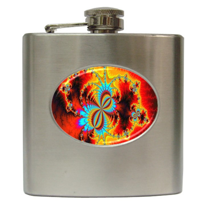 Crazy Mandelbrot Fractal Red Yellow Turquoise Hip Flask (6 oz)
