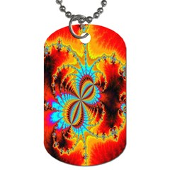 Crazy Mandelbrot Fractal Red Yellow Turquoise Dog Tag (two Sides)