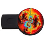 Crazy Mandelbrot Fractal Red Yellow Turquoise USB Flash Drive Round (1 GB)  Front