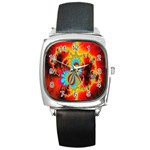 Crazy Mandelbrot Fractal Red Yellow Turquoise Square Metal Watch Front