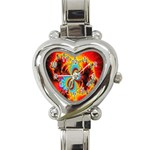 Crazy Mandelbrot Fractal Red Yellow Turquoise Heart Italian Charm Watch Front