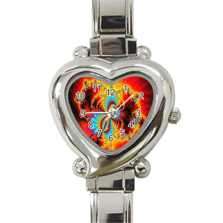 Crazy Mandelbrot Fractal Red Yellow Turquoise Heart Italian Charm Watch