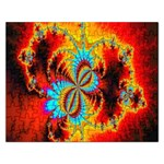 Crazy Mandelbrot Fractal Red Yellow Turquoise Rectangular Jigsaw Puzzl Front