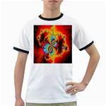 Crazy Mandelbrot Fractal Red Yellow Turquoise Ringer T-Shirts Front