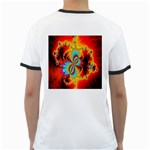 Crazy Mandelbrot Fractal Red Yellow Turquoise Ringer T-Shirts Back