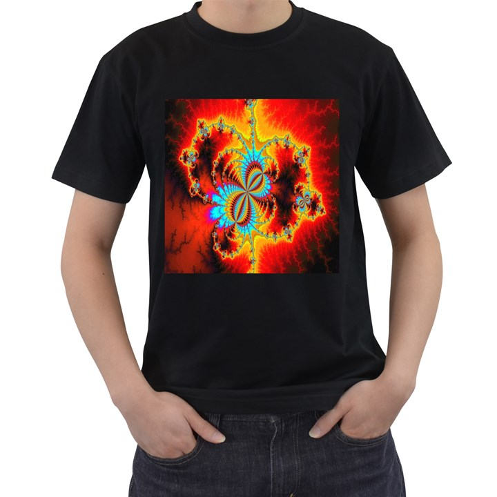 Crazy Mandelbrot Fractal Red Yellow Turquoise Men s T-Shirt (Black) (Two Sided)
