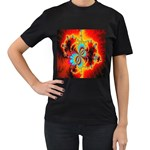 Crazy Mandelbrot Fractal Red Yellow Turquoise Women s T-Shirt (Black) (Two Sided) Front