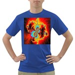 Crazy Mandelbrot Fractal Red Yellow Turquoise Dark T-Shirt Front