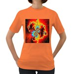Crazy Mandelbrot Fractal Red Yellow Turquoise Women s Dark T-Shirt Front