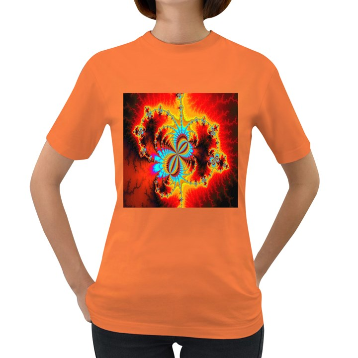 Crazy Mandelbrot Fractal Red Yellow Turquoise Women s Dark T-Shirt