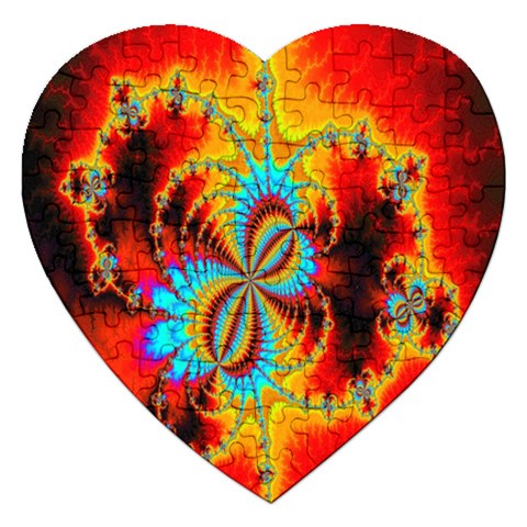 Crazy Mandelbrot Fractal Red Yellow Turquoise Jigsaw Puzzle (Heart)