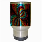 Crazy Mandelbrot Fractal Red Yellow Turquoise Travel Mug (Silver Gray) Center