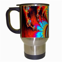 Crazy Mandelbrot Fractal Red Yellow Turquoise Travel Mugs (white)