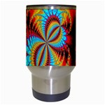 Crazy Mandelbrot Fractal Red Yellow Turquoise Travel Mugs (White) Center