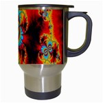 Crazy Mandelbrot Fractal Red Yellow Turquoise Travel Mugs (White) Right