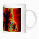Crazy Mandelbrot Fractal Red Yellow Turquoise Night Luminous Mugs Right