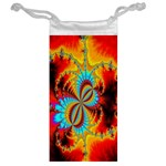 Crazy Mandelbrot Fractal Red Yellow Turquoise Jewelry Bags Back