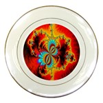 Crazy Mandelbrot Fractal Red Yellow Turquoise Porcelain Plates Front
