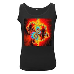 Crazy Mandelbrot Fractal Red Yellow Turquoise Women s Black Tank Top