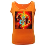 Crazy Mandelbrot Fractal Red Yellow Turquoise Women s Dark Tank Top Front