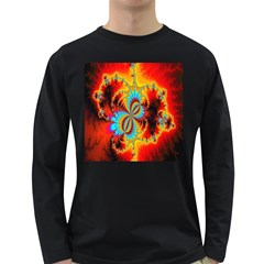 Crazy Mandelbrot Fractal Red Yellow Turquoise Long Sleeve Dark T Shirts