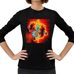 Crazy Mandelbrot Fractal Red Yellow Turquoise Women s Long Sleeve Dark T Shirts