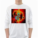 Crazy Mandelbrot Fractal Red Yellow Turquoise White Long Sleeve T-Shirts Front
