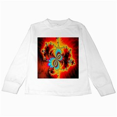 Crazy Mandelbrot Fractal Red Yellow Turquoise Kids Long Sleeve T Shirts