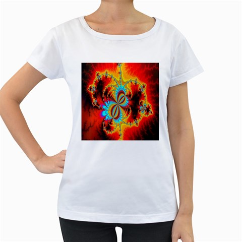 Crazy Mandelbrot Fractal Red Yellow Turquoise Women s Loose-Fit T-Shirt (White)
