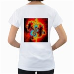 Crazy Mandelbrot Fractal Red Yellow Turquoise Women s Loose-Fit T-Shirt (White) Back