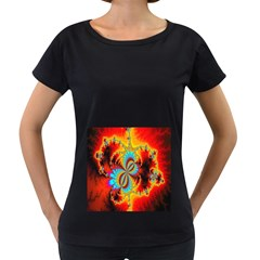 Crazy Mandelbrot Fractal Red Yellow Turquoise Women s Loose-Fit T-Shirt (Black)
