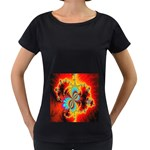 Crazy Mandelbrot Fractal Red Yellow Turquoise Women s Loose-Fit T-Shirt (Black) Front