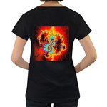 Crazy Mandelbrot Fractal Red Yellow Turquoise Women s Loose-Fit T-Shirt (Black) Back