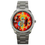 Crazy Mandelbrot Fractal Red Yellow Turquoise Sport Metal Watch Front