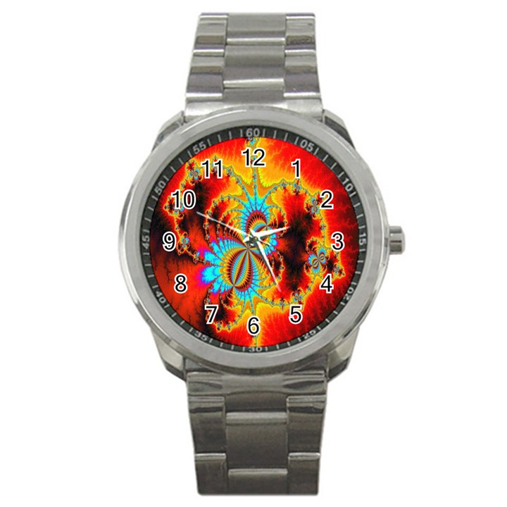 Crazy Mandelbrot Fractal Red Yellow Turquoise Sport Metal Watch