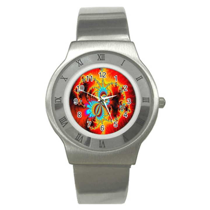 Crazy Mandelbrot Fractal Red Yellow Turquoise Stainless Steel Watch