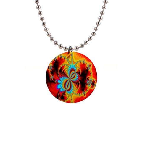 Crazy Mandelbrot Fractal Red Yellow Turquoise Button Necklaces