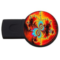 Crazy Mandelbrot Fractal Red Yellow Turquoise USB Flash Drive Round (4 GB)