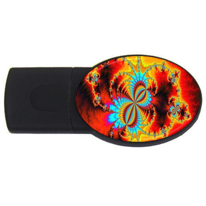 Crazy Mandelbrot Fractal Red Yellow Turquoise USB Flash Drive Oval (4 GB)